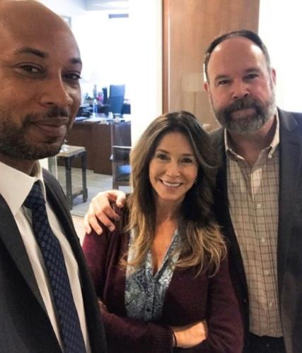 Susan with cast members Mark Rowe and Mykie Fisher in the NBC premiere of 'Bluff City Law'